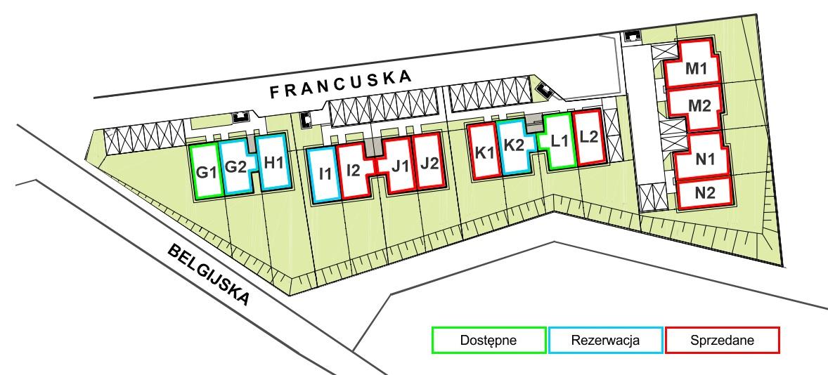 Bliźniaki Szczecin ul. Francuska dzielnica Warszewo